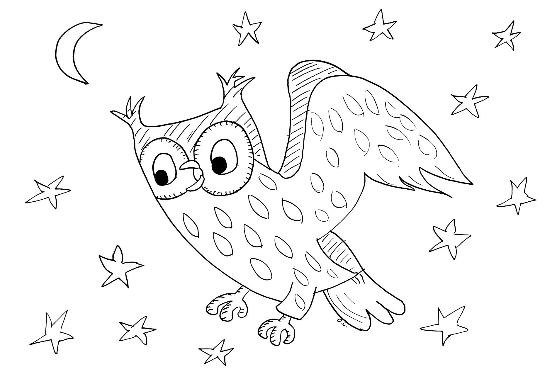 Coloring page owl in starry night owl in starry night