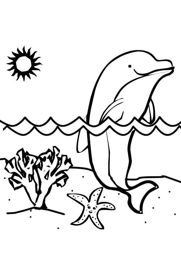 Simple dolphin - Animals Adult Coloring Pages