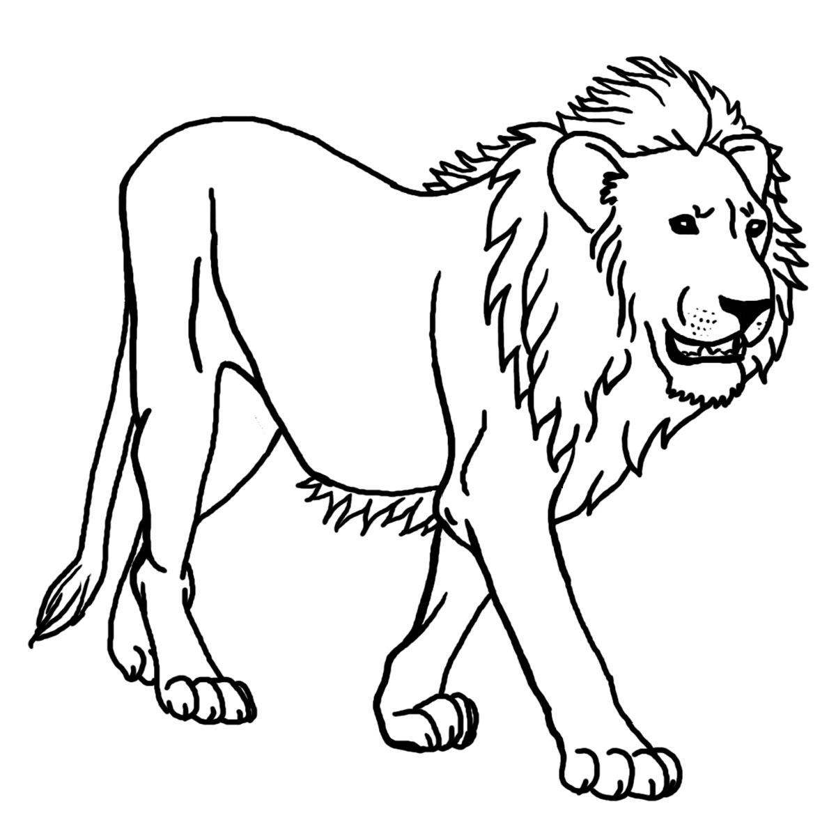 simple lion Animal Coloring pages for kids to print color