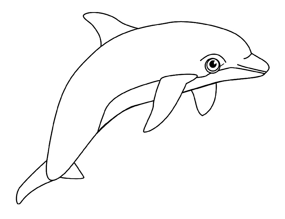 Coloring page vey simple dolphin vey simple dolphin