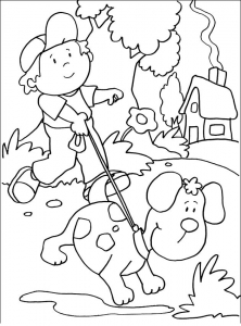 coloring boy and his dog