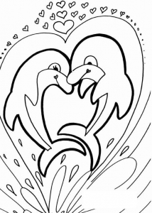 coloring dolphin two dolphins in a heart free to print - Dolphins Coloring Pages