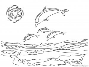 coloring dolphins in the sea free to print