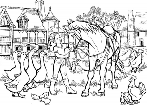 Coloring girl with horse and other animals lot of details