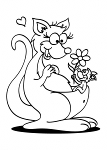 coloring kangaroo mother s day