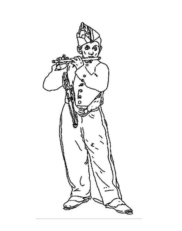 Manet flute player Art Coloring pages for adults JustColor