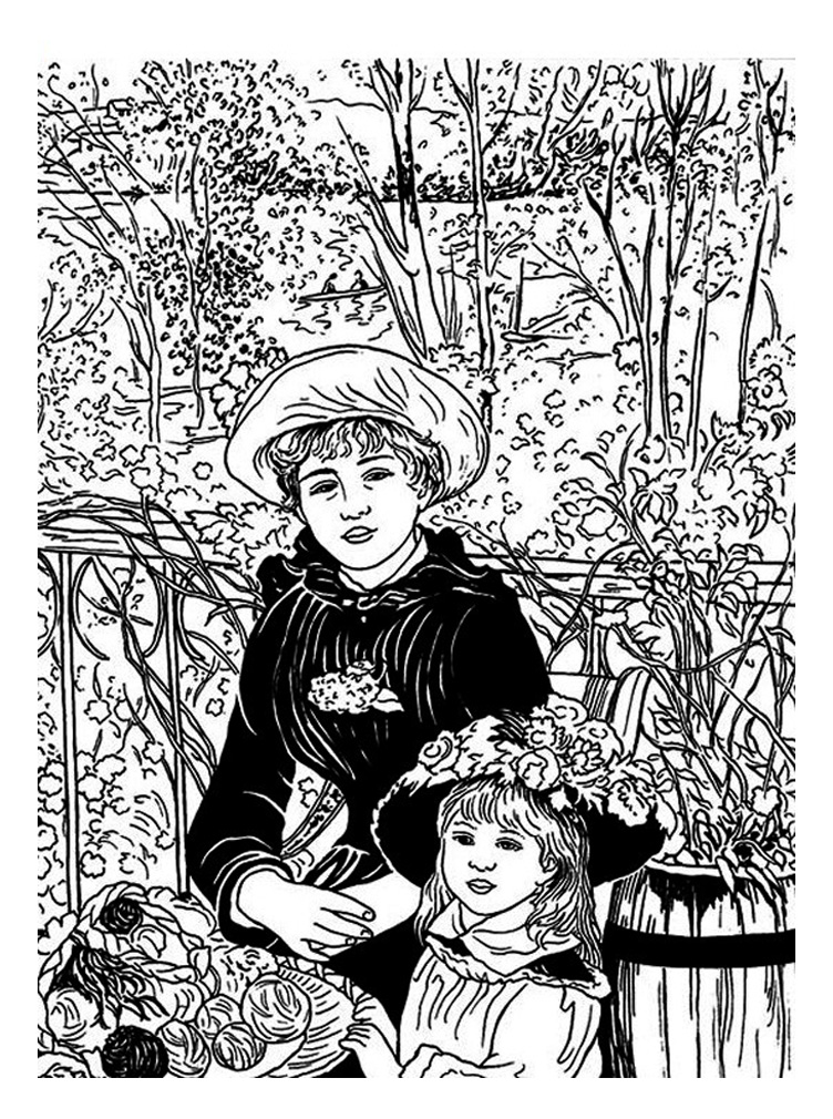 Renoir two sisters or on the terrace art coloring pages for Kids on the terrace