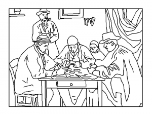 coloring cezanne card players 2