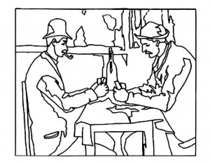 coloring cezanne card players