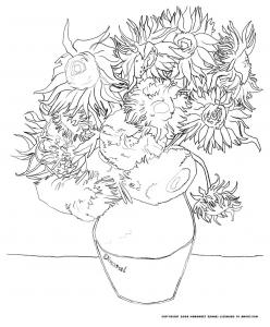 Coloring van gogh sunflowers