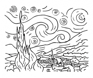 Coloring Van Gogh The Starry Night Free To Print