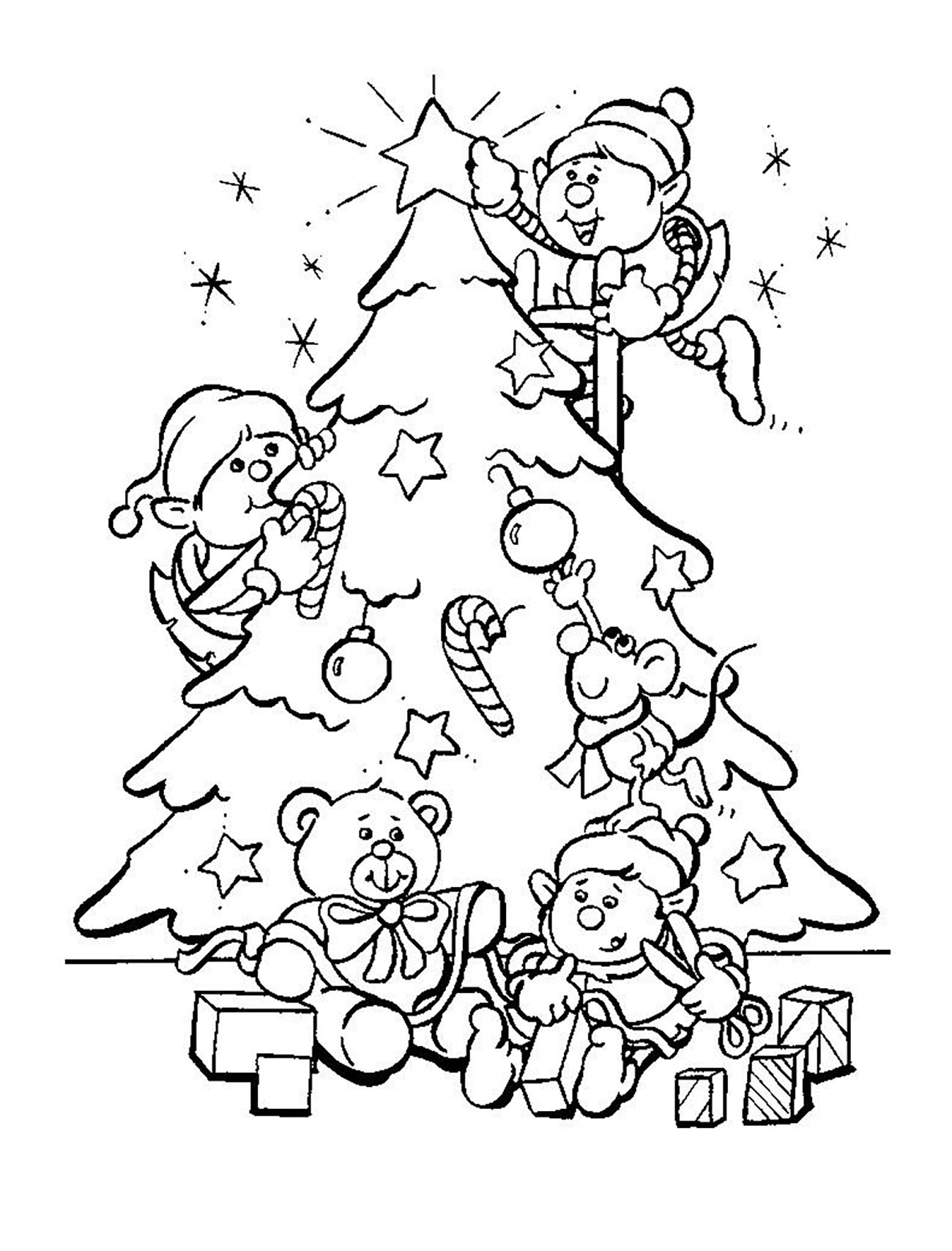 Christmas Tree With Elves Christmas Coloring Pages For Kids To
