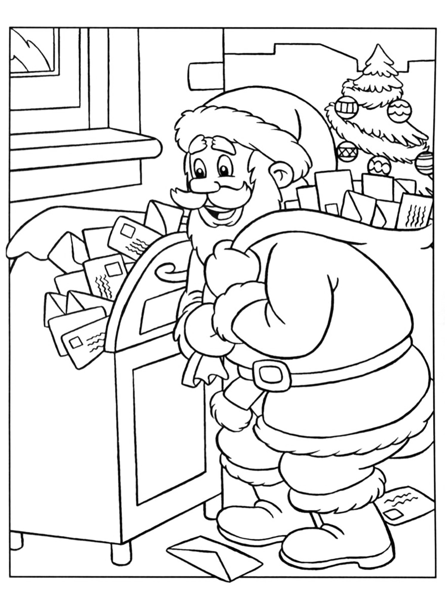 Santa claus and his letters - Christmas Coloring pages for ...