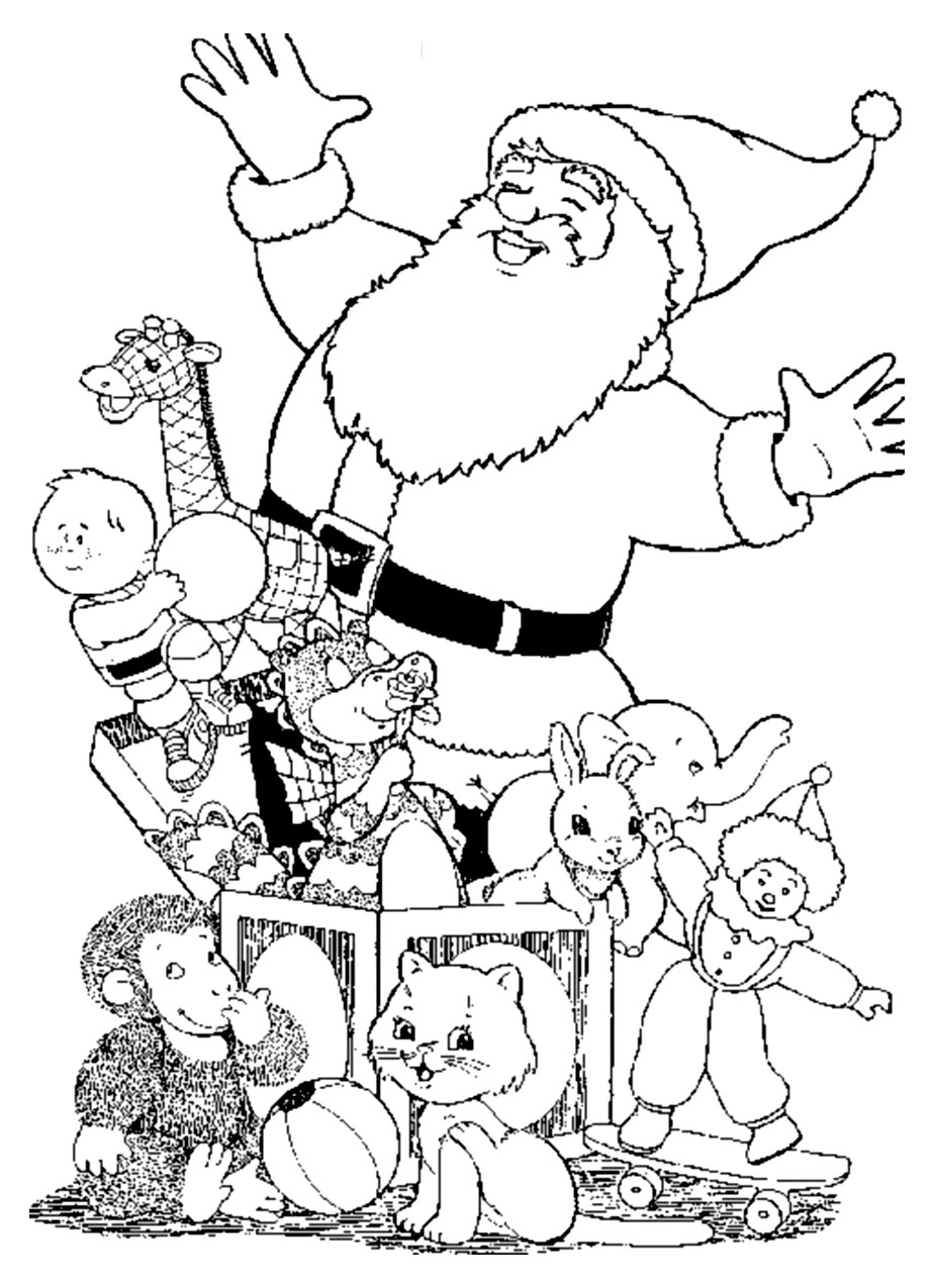 Santa claus gifts - Christmas Coloring pages for kids to print & color