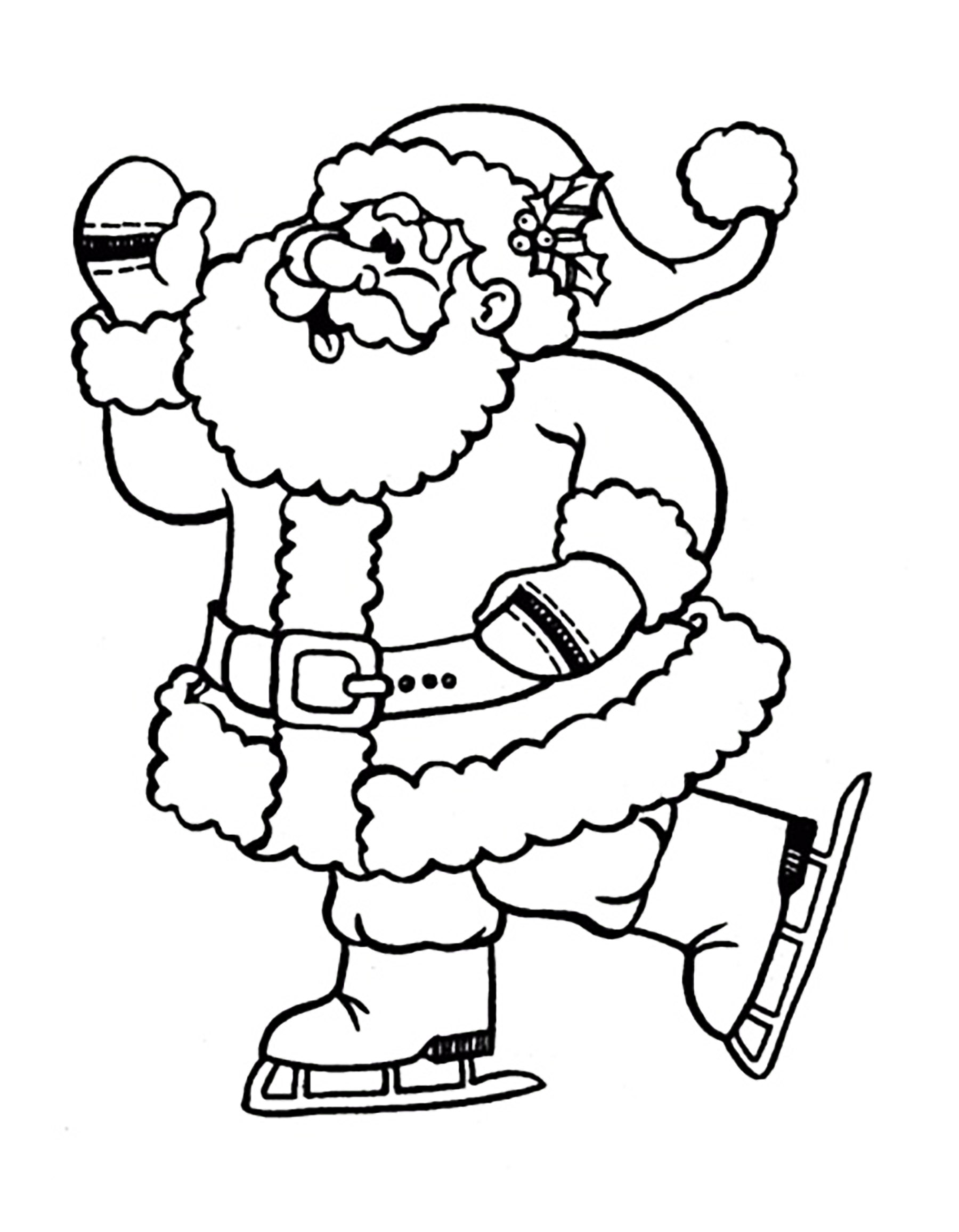 Santa claus ice skating Christmas Coloring pages for