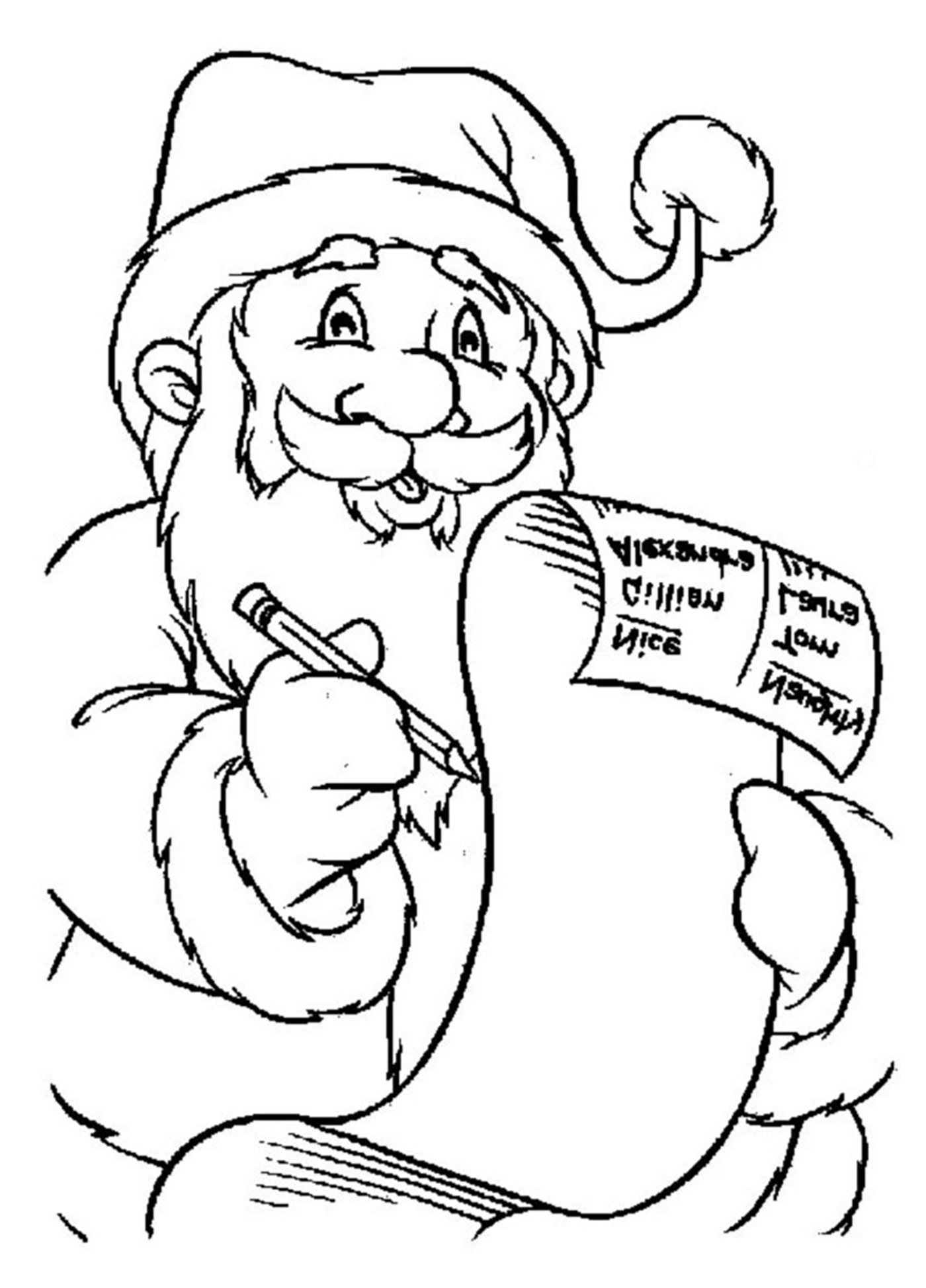 Santa claus letter - Christmas Coloring pages for kids to print & color