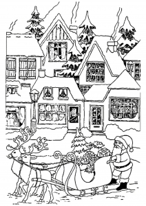 coloring page christmas houses with santa claus