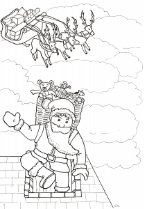 Coloring santa claus arriving by the fireplace by olivier