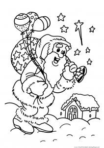 Coloring santa claus bring gifts