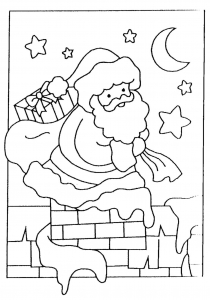 Coloring santa claus enter the room from the fireplace