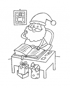 Coloring santa claus read a book
