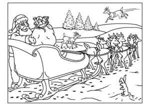 Coloring santa claus sled