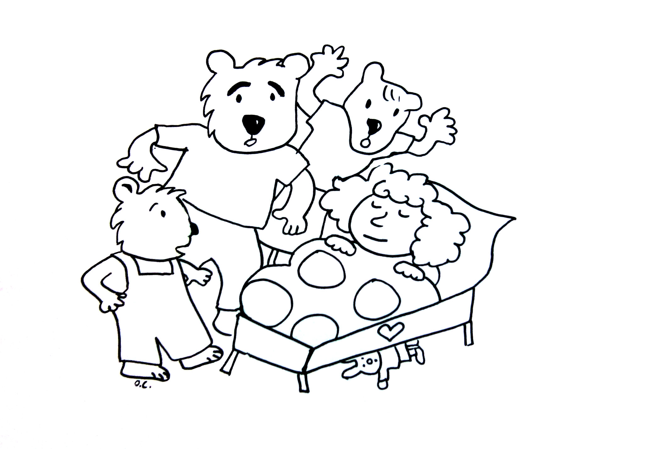 Colouring pages goldilocks and three bears - Goldilocks And The Three Bears Simple Printable For Young Kids From The Gallery