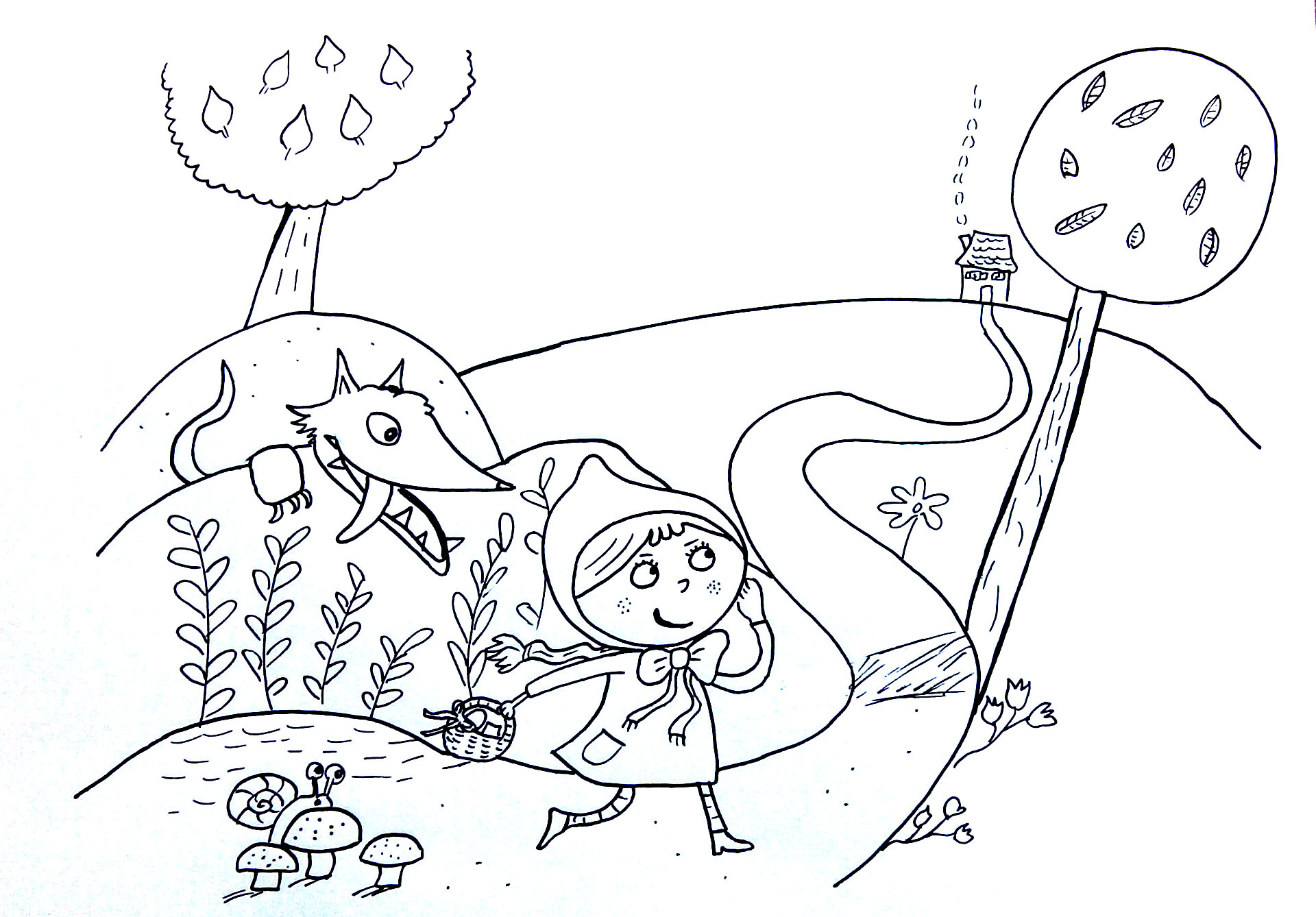 Uncategorized Little Red Riding Hood Coloring Page little red riding hood ambushed by wolf fairy tales coloring the abushed a from gallery kids fairy