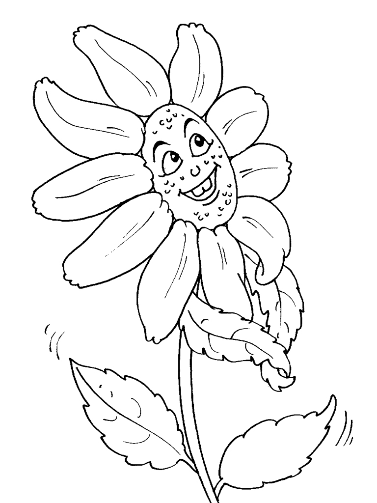 flowers with face flowers coloring pages for kids to print u0026 color