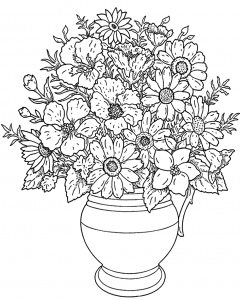 Coloring flowers in a vase