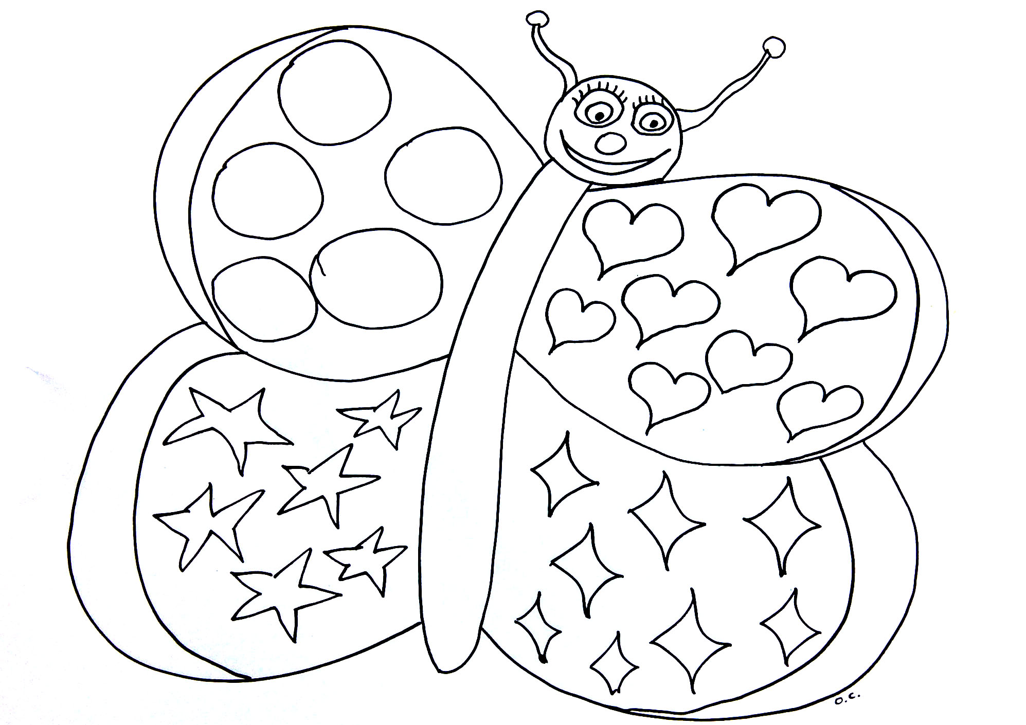 Butterfly with simple patterns and hearts - Insects Coloring pages ...