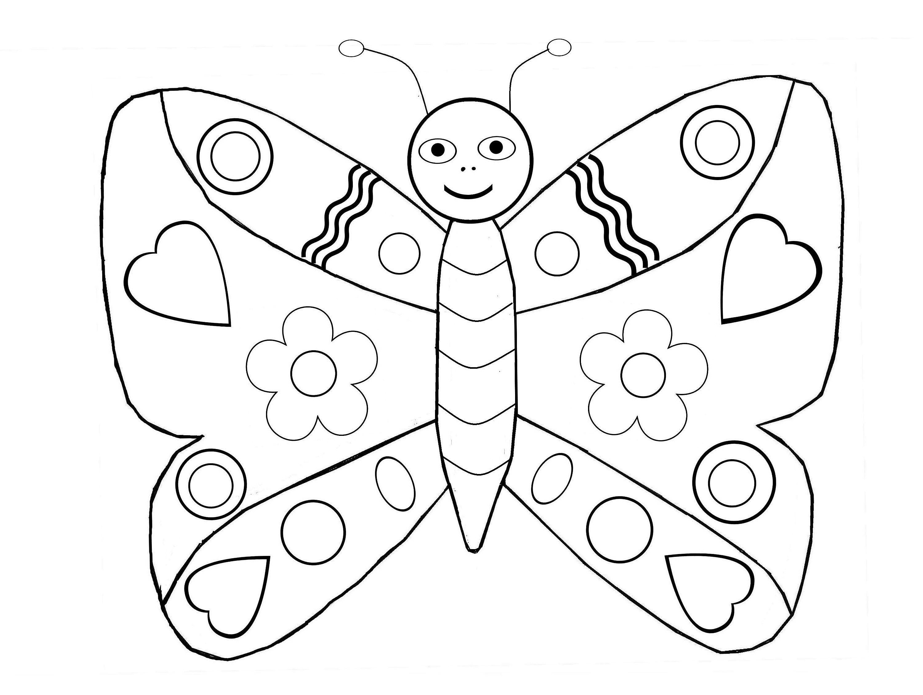 simple symetric butterfly insects coloring pages for kids to