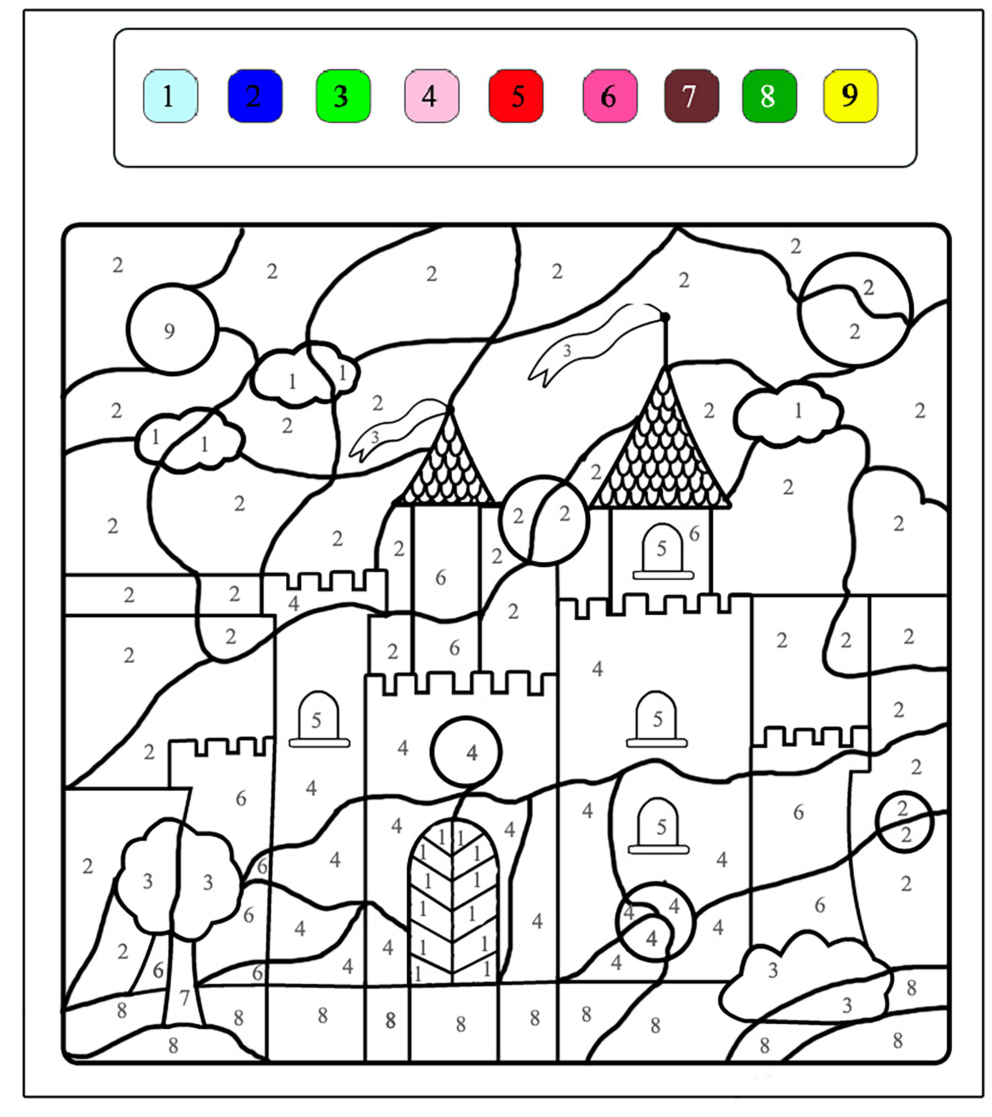 Magical castle | Magical coloring pages for kids to print & color