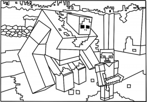 Coloring page drawing inspired by minecraft 2