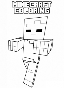 Coloring page drawing inspired by minecraft 3