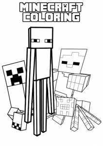 Coloring page drawing inspired by minecraft 4