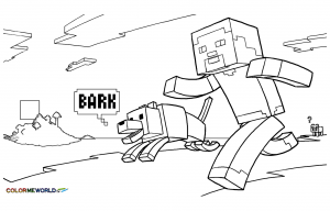Coloring page drawing inspired by minecraft 9