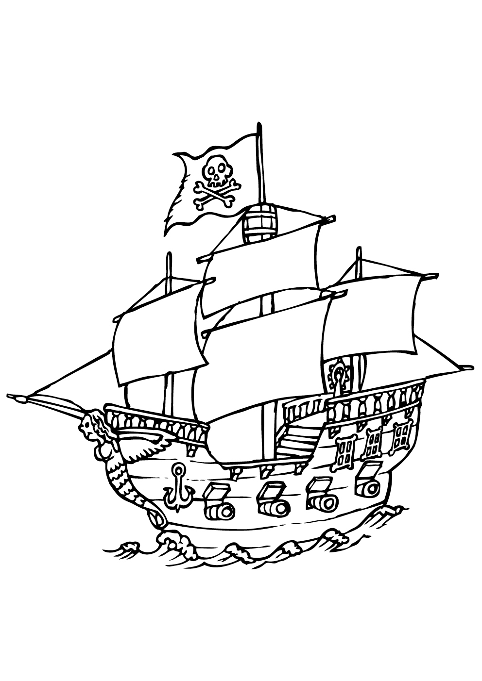 Pirate colouring pages to print - Big Pirate Boat With Jolly Roger Flag From The Gallery Kids Pirates Print