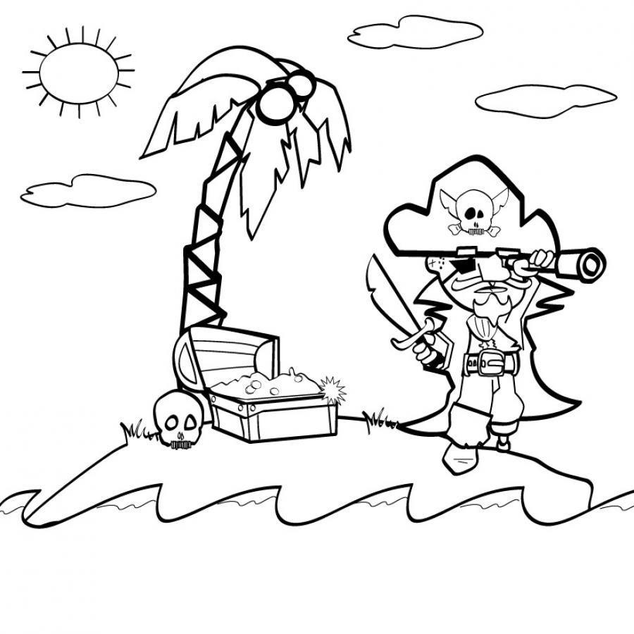 Treasure isle | Pirates Coloring pages for kids to print & color