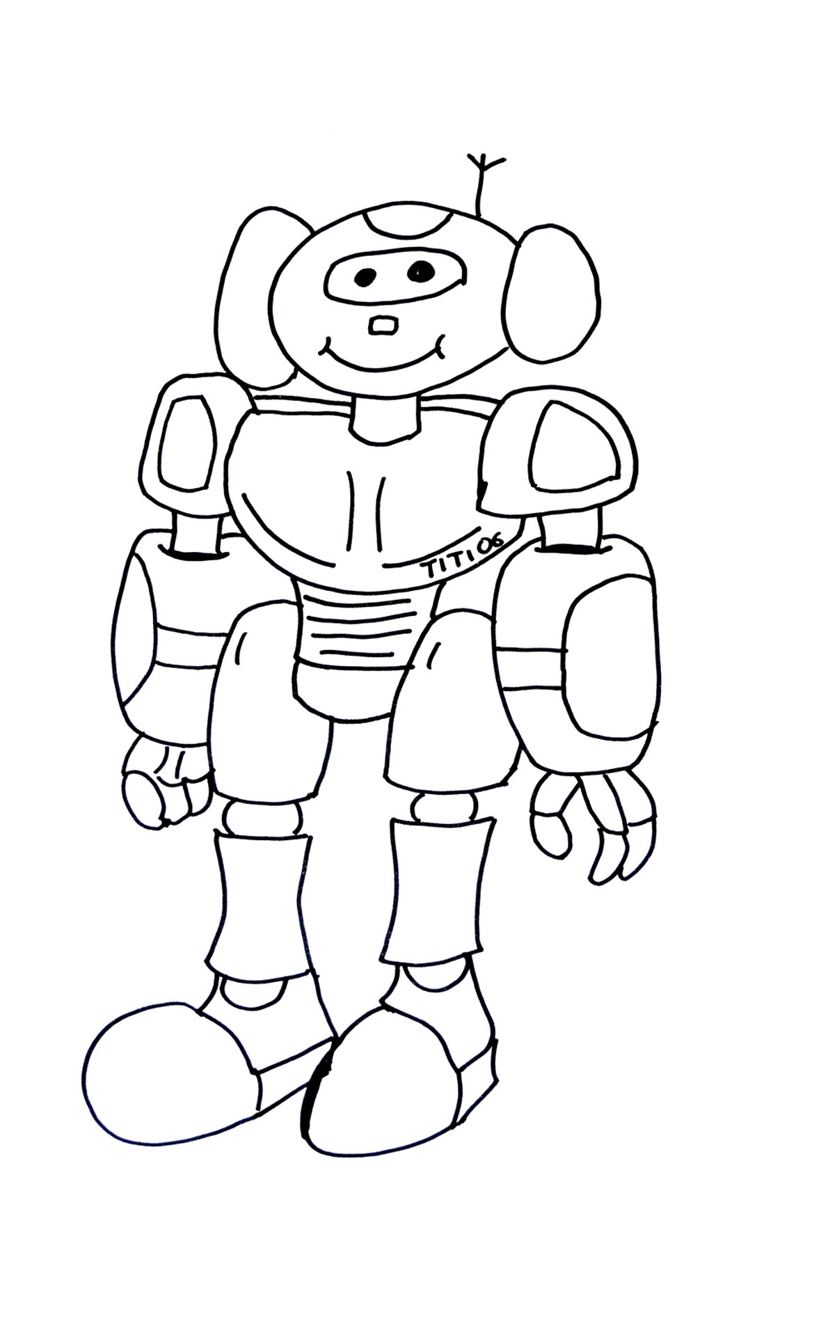 Funny robot - Robots Coloring pages for kids to print & color