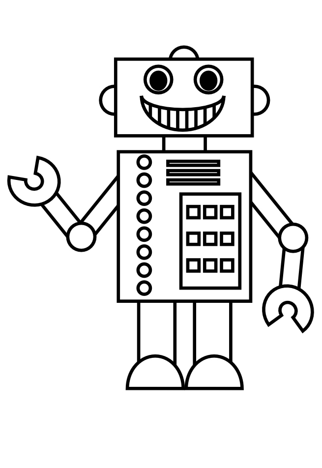 Robots Simple Robots Coloring Pages For Kids To Print Color