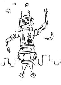coloring robot in the space