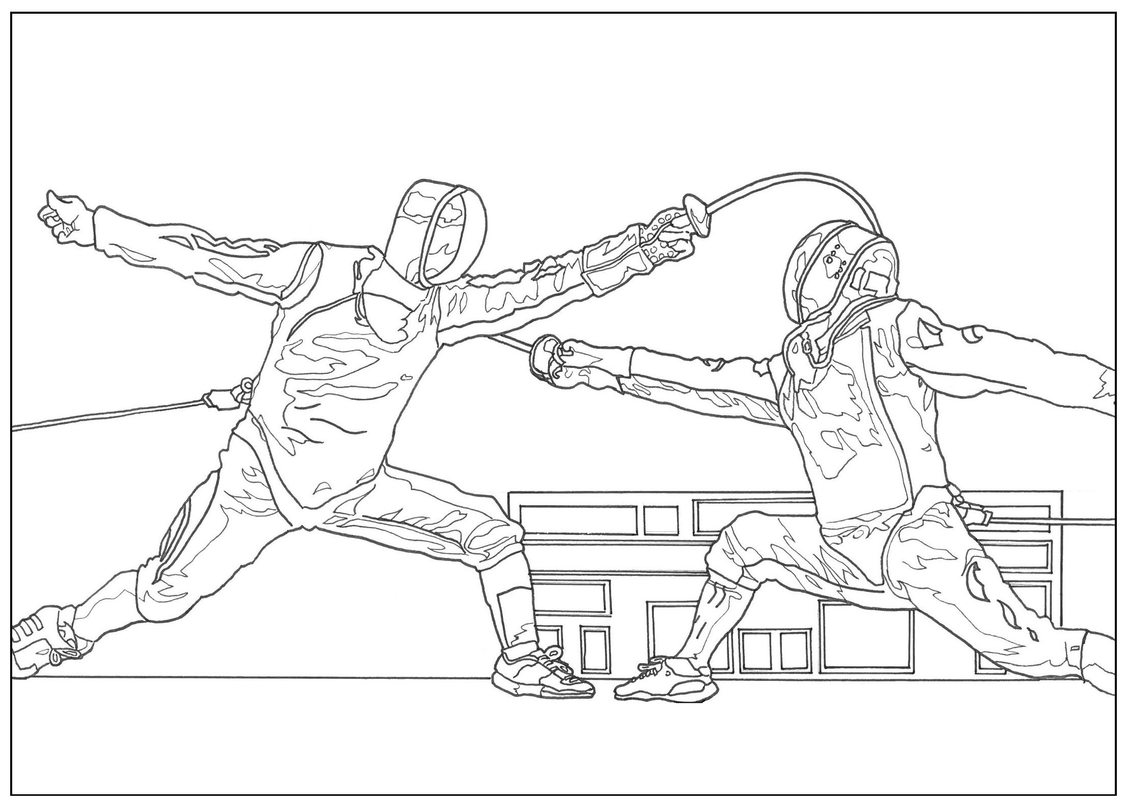 Sport fencing - Sport Coloring pages for kids to print & color