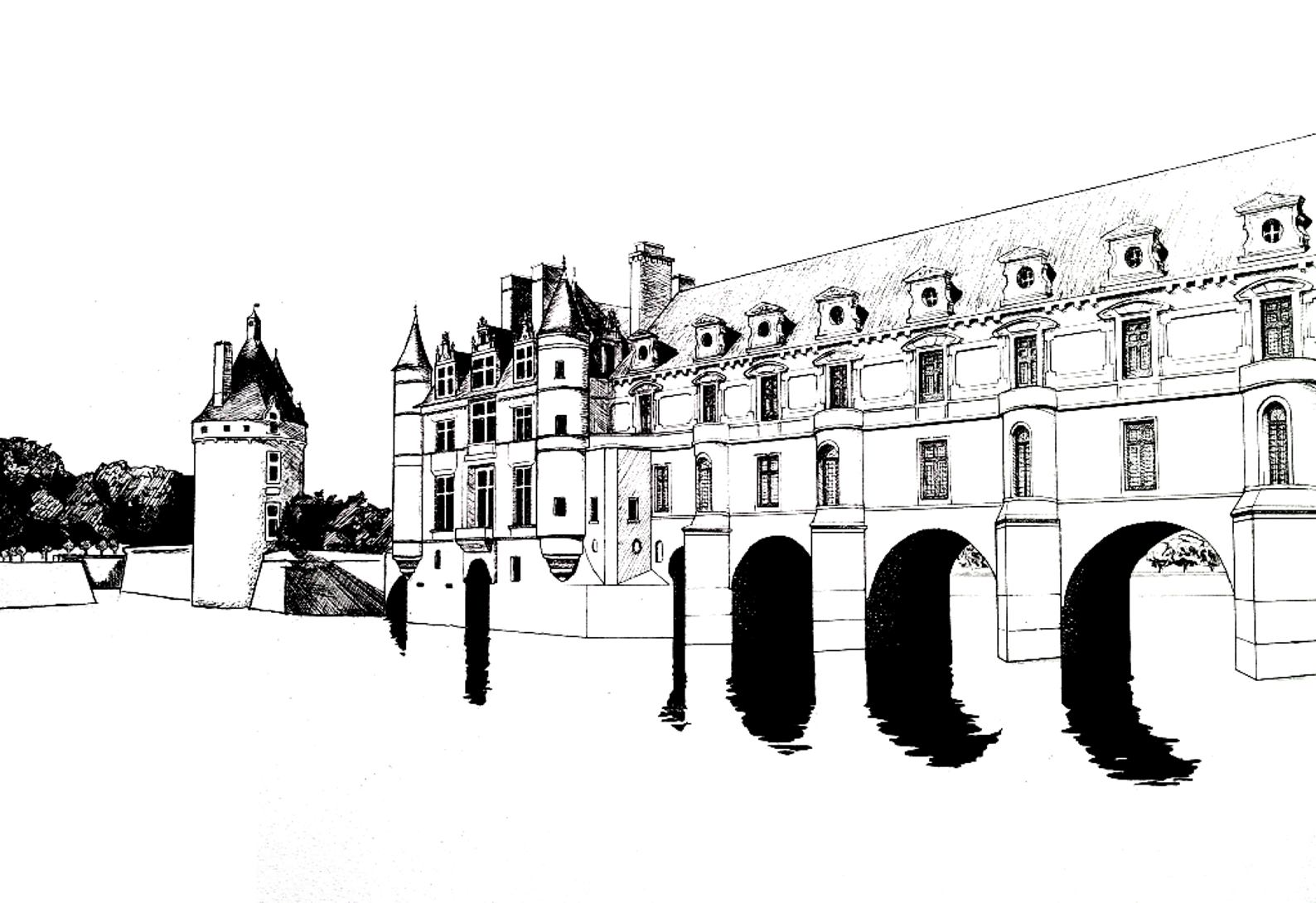 Coloring adult chateau chenonceau