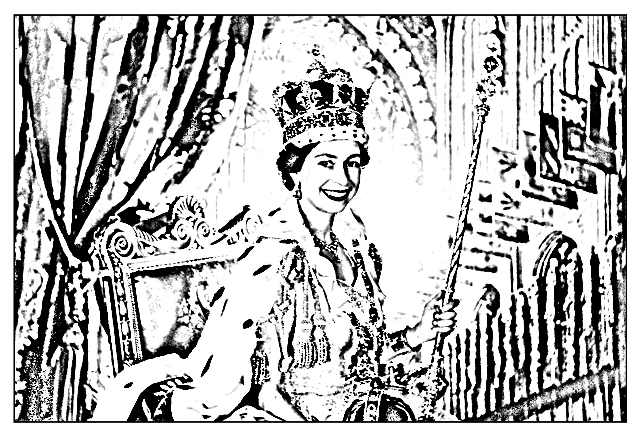 Exclusive coloring page made from the official portrait of Elisabeth II, taken by Cecil Beaton after her coronation in 1953