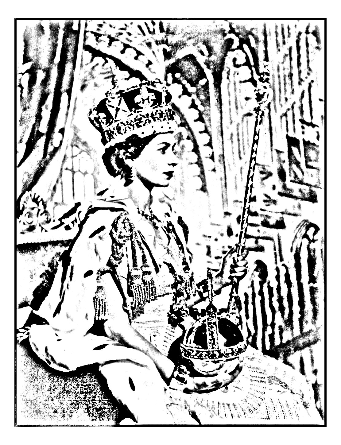 Coloring page made from an official picture of Elizabeth II, taken after her coronation in 1953