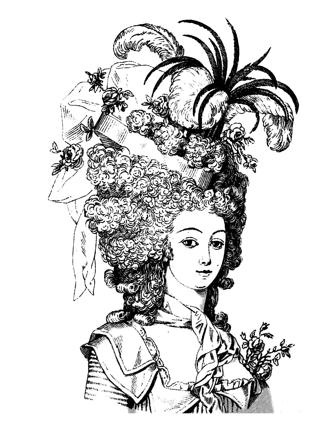 Coloring page of a woman looking like Marie-Antoinette, Queen of France in the 18th century