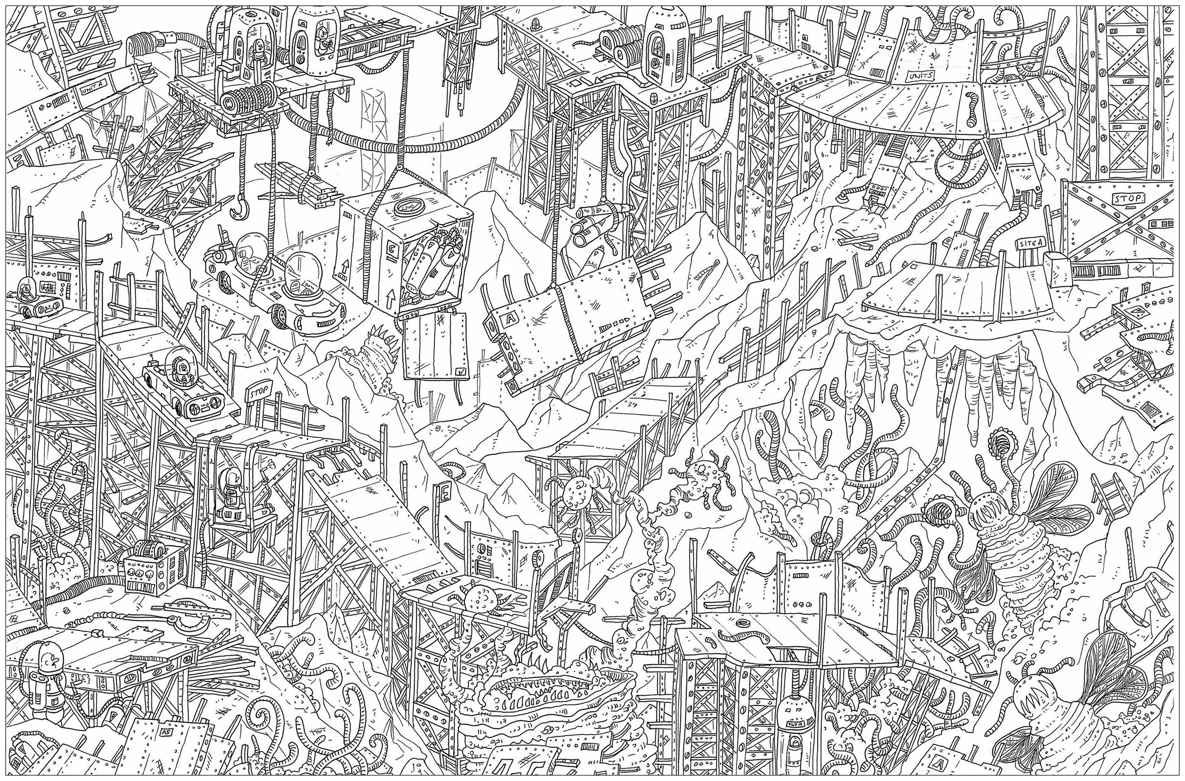 'The planet', a complex coloring page, 'Where is Waldo ?' style