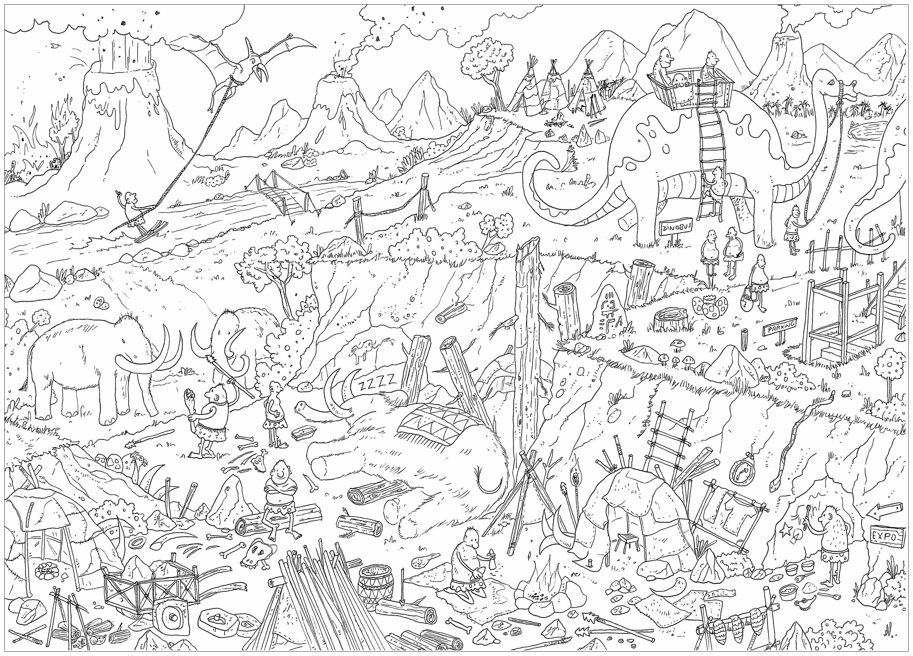 'Prehistory', a complex coloring page, 'Where is Waldo ?' style