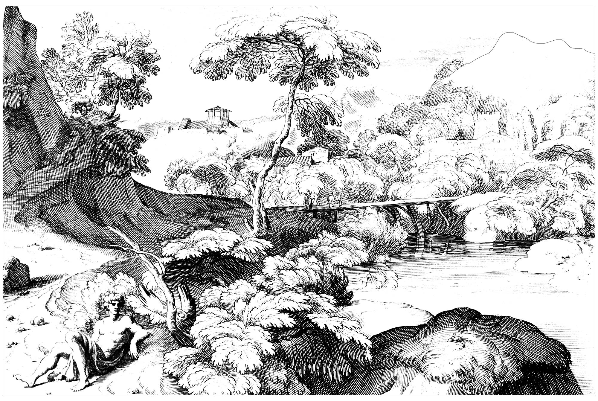 Landscape drawing, by Jacques Rousseau (1630-1693)